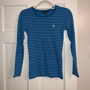 Blue and white striped Ralph Lauren long sleeve